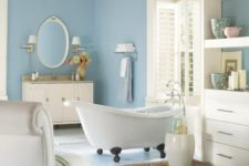 07 ivory as the main shade, blue as the secondary and some tan touches to make up a welcoming bathroom