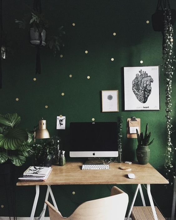 a green and gold polka dot accent wall will refresh your mind durign work and catch an eye