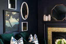 08 emerald chairs and touches of gold add chic and color to the dark space making it stylish and cool