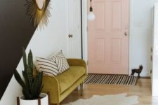 08 make a mid-century modern statement with a mustard-colored upholstered mini sofa in your entryway