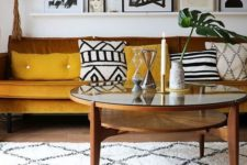 09 mustard and browns make the boho chic living room more welcoming and brighter