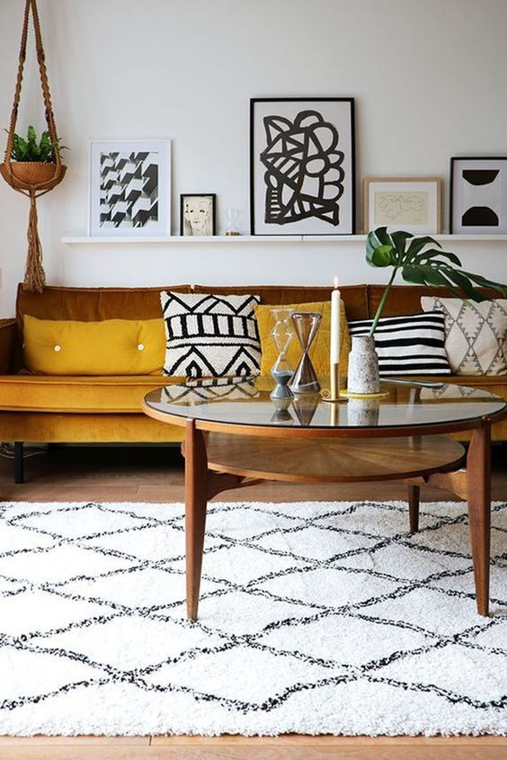 mustard and browns make the boho chic living room more welcoming and brighter