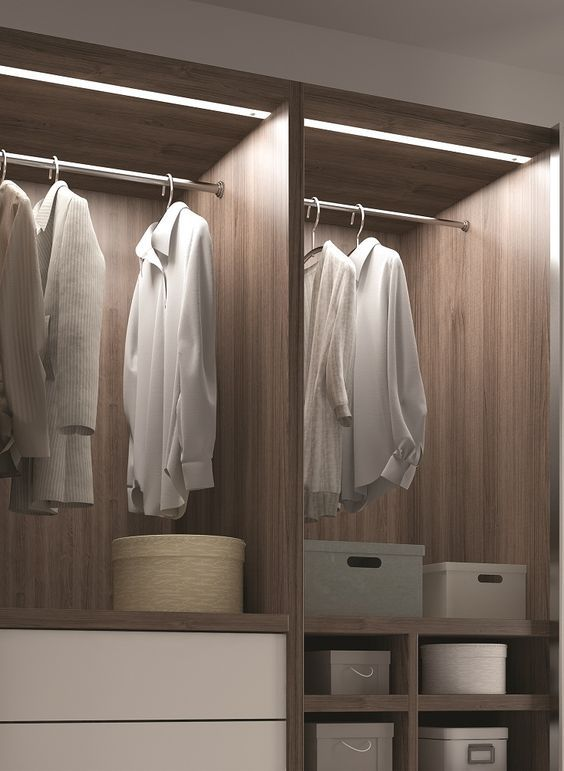strip lighting inside a wardrobe will allow you highlight all the clothes and shoes you have and easily find what you need