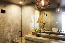 10 a stone and concrete bathroom with dim lights is a relaxation oasis – choose different lights