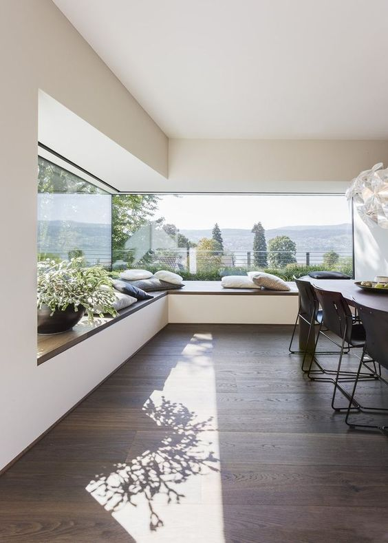 an L-shaped windowsill seat along the window can be a bench for the dining table