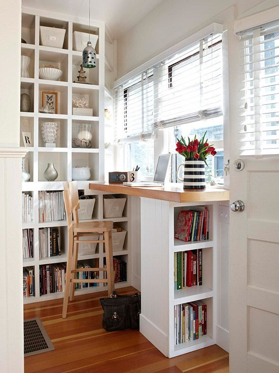 if you don't need much space for something, squeeze it into a small nook or corner, like here a home office