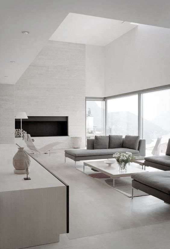 a minimal room done with much negative space and filled with light for an airy feeling