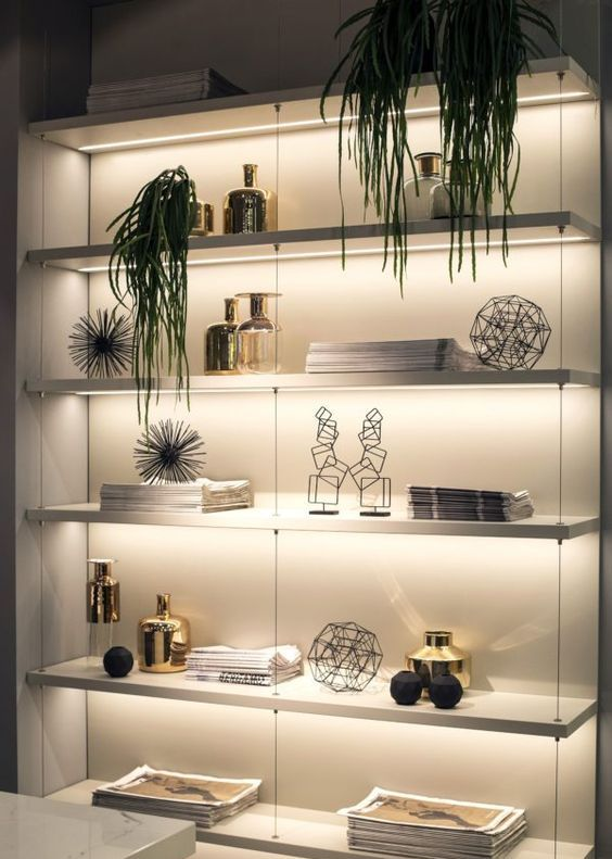 open shelving with strip lighting is a bold contemporary idea that accents that you wanna place on display