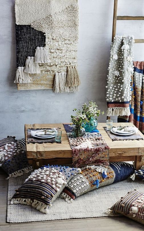 pompom and tassels plus fringe can be a nice idea for boho textiles