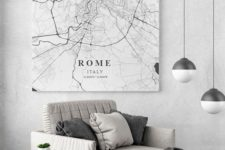 12 a black and white city map on a canvas is a bold idea for contemporary apartment decor
