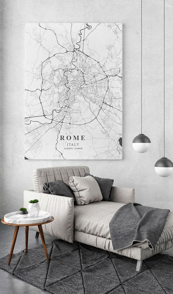 a black and white city map on a canvas is a bold idea for contemporary apartment decor