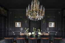 12 a large vintage chandelier over the moody dining room is a gorgeous idea for more light and to highlight the decor