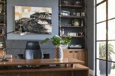 12 built-in metal and wooden shelves and cabinets are a great idea to save some space