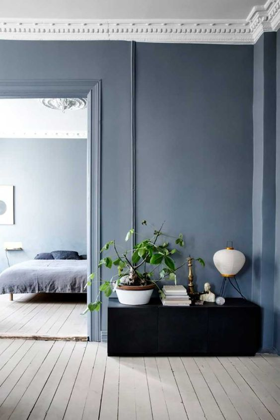 cool hues are amazing for bedrooms and just spaces for relaxation like here greys and blues