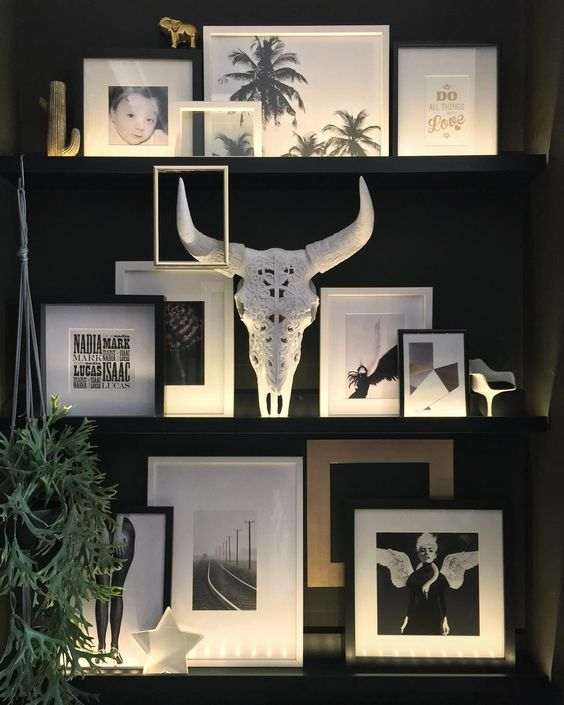 highlight your shelves or ledges with strip lighting to make your gallery wall accented even more than usual