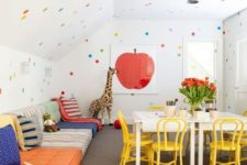 13 organize a colorful playroom for kids in the attic – this way you'll use the unused space and it will be accessible for the kids
