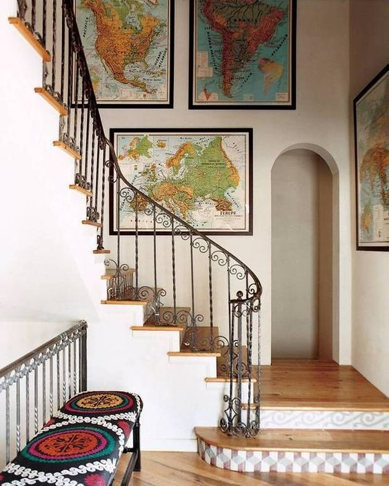 a gallery wall with various maps is a cool idea to substitute a traditional gallery wall with photos and artworks
