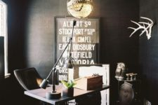 14 a moody home office enlit with a large vintage chandelier that adds a refined touch and makes it less moody
