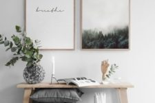 14 inspiring and stylish modern artworks over the bench to add a calm touch to the entryway and set the tone