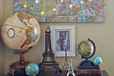 15 a world map collage with LED lights in the places where you've already been is a very inspiring wall art idea