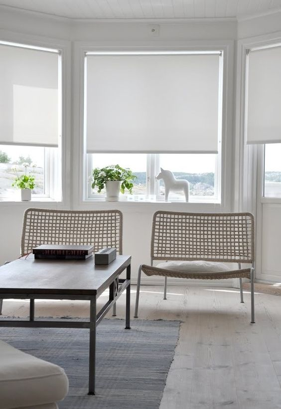 simple white roller shades are great for modern interiors, they are very laconic and easy to install