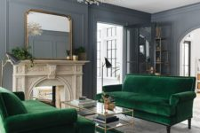 16 velvet is a very cozy fabric and if you take velvet upholstered sofas, they will cozy up the space a lot
