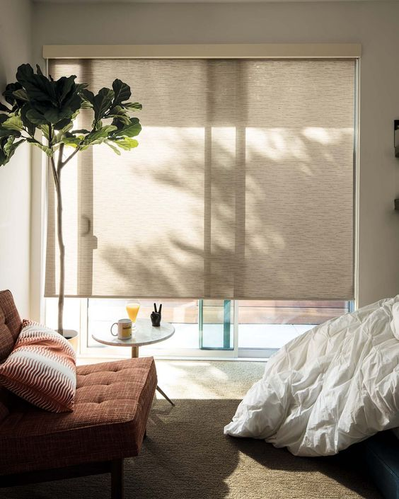 neutral roller shades block the excessive sunlight very well and can be removed anytime to make the space connected to outdoors