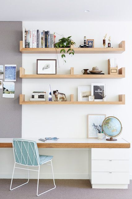 sculptural shelves over the desk is a comfy idea that always works, they can hold a lot