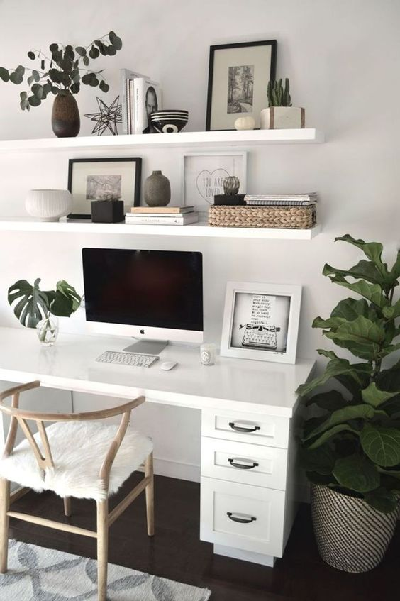 some simple open shelving over the desk is a cool idea to store your things and display some decor, too