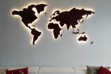 19 a lit up world map wall art is a stunning and bold blank wall decor idea