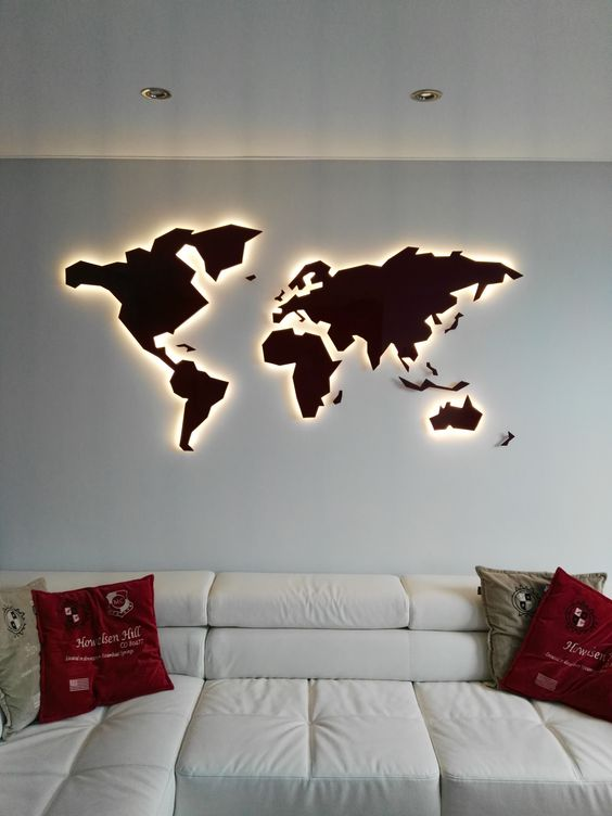 a lit up world map wall art is a stunning and bold blank wall decor idea