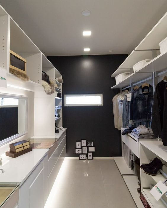 bring more light to your closet even if there are very small windows, just attach strip lighting somewhere