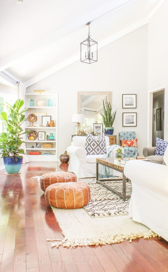 leather Moroccan-style ottomans are a very popular idea for a boho interior