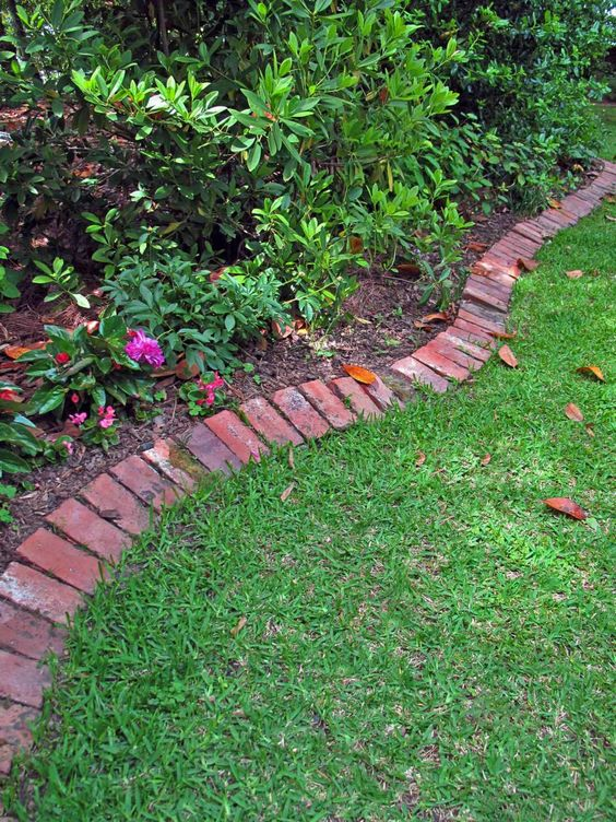 red brick edging is a stylish idea that fits most of outdoor landscaping styles and a touch of color