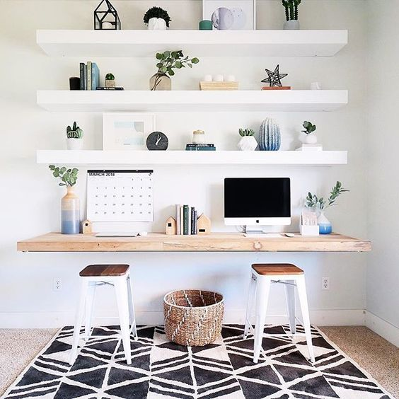 thick open IKEA LACK shelving will hold lots of things and a matching floating desk is a cool idea for a contemporary office
