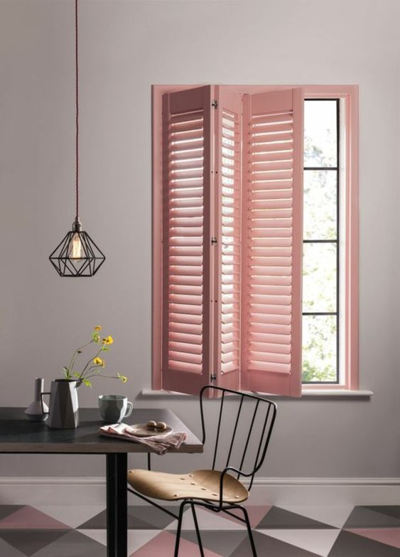 try shutters in various shades to add color to your space, this is a fresh take on a traditional window treatment