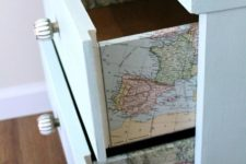 20 a dresser with vintage maps decoupaged is a fun idea that doesn't look too much – only for travel maniacs
