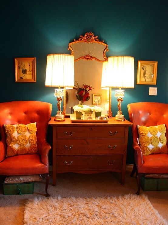 dark green and orange is a fantastic and bright color combo for those who want a complementary color scheme