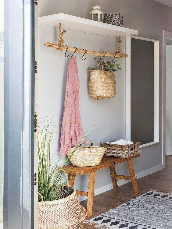 some hooks and a shelf to let your guests leave their clothes and accessories here