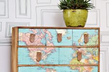 21 a fantastic IKEA Moppe hack with a vintage world map and leather drawer handles for any space of your home