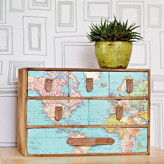 a fantastic IKEA Moppe hack with a vintage world map and leather drawer handles for any space of your home