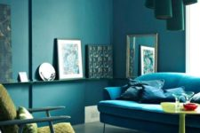 21 an analogous color scheme in the living room – dark green, turquoise and neon yellow