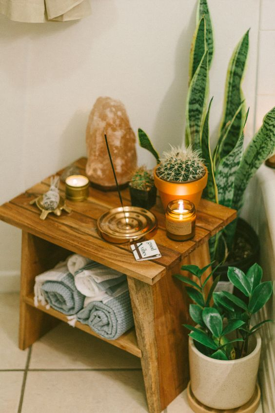 potted succulents, cacti and agaves is a cool idea for a boho space, even if it's a bathroom