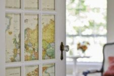 22 a door done with world maps instead of usual glass is a gorgeous travel-inspired idea to go for