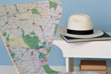 24 a modern chair covered with a world map is a cool and fresh idea for those who love to wander