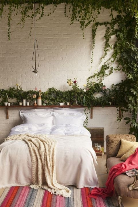 an open shelf with potted greenery and soem vines climbing up the wall is a great idea for a boho bedroom