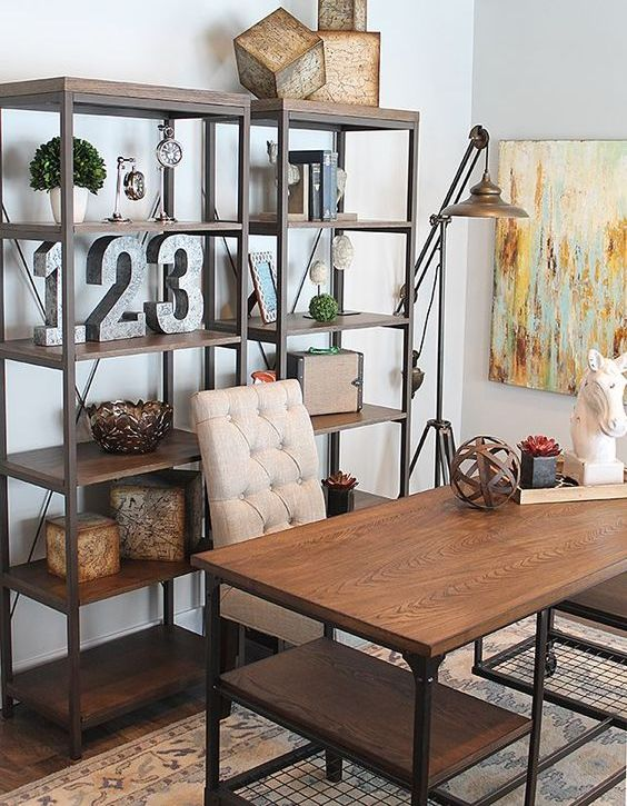 metal and wood free-standing shelving units that match the desk create a chic industrial feel in the home office