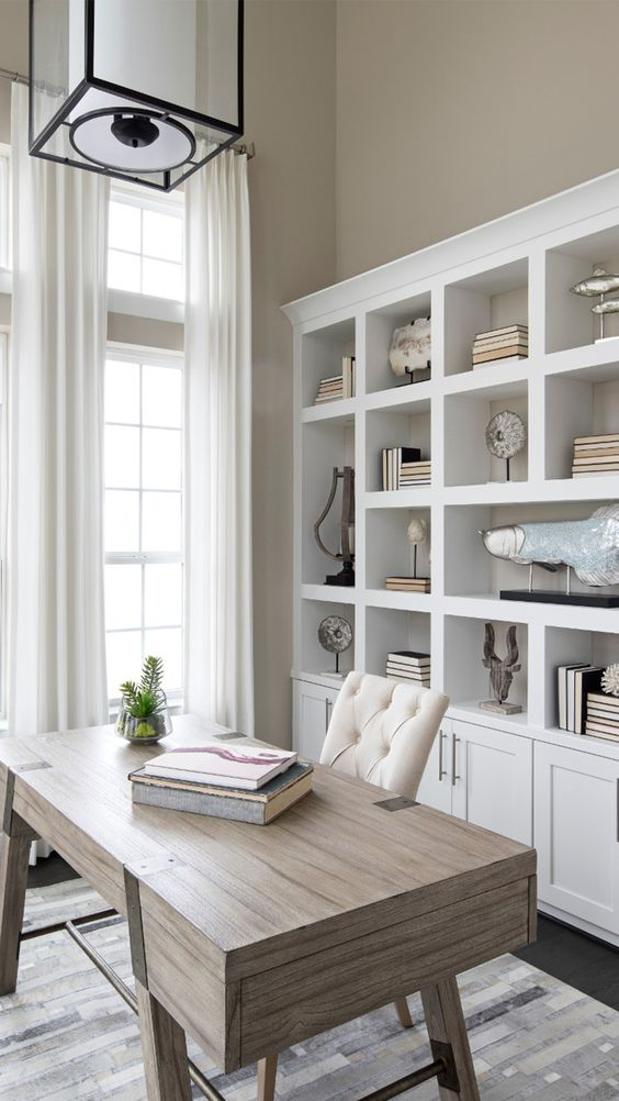 a free-standing white shelving unit is a timeless idea for a home office, add some closed space to declutter the office