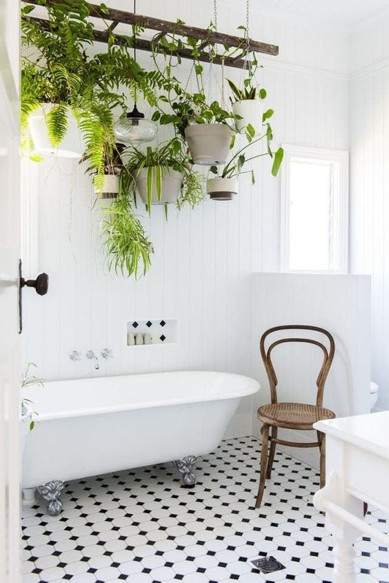 a ladder with hanging planters and much greenery for your own bathing oasis