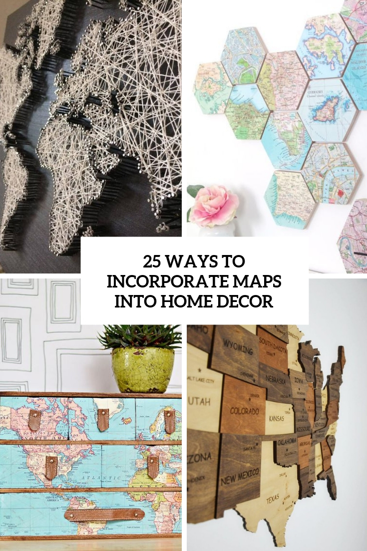 ways to incorporate maps into home decor cover